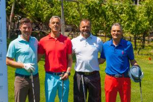 20. Bini-systems Golfturnier in Lana; Andreas Spitaler (Spitaler Sports), Lothar Delucca (HDS), Franz Pföstl (Turniersieger), Klemens Kaserer (Hotel Anderlahn, Partschins). Fotocredit: Davide da Ponte