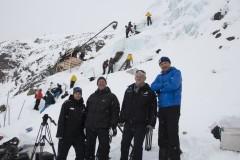 Actionreicher Dreh am Gletscher